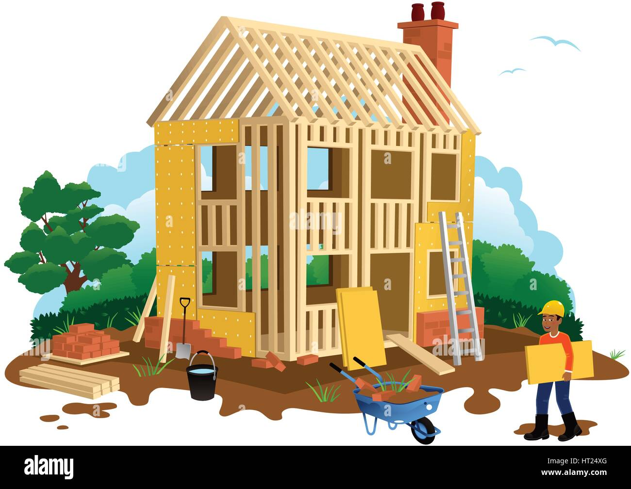 An Illustration Of A Timber Framed House Construction Site Plus Builder.
