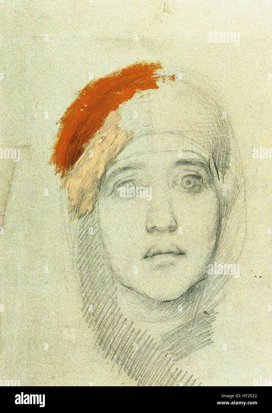 Head of a Woman, 1884. Artist: Vrubel, Mikhail Alexandrovich (1856-1910) - Stock Image