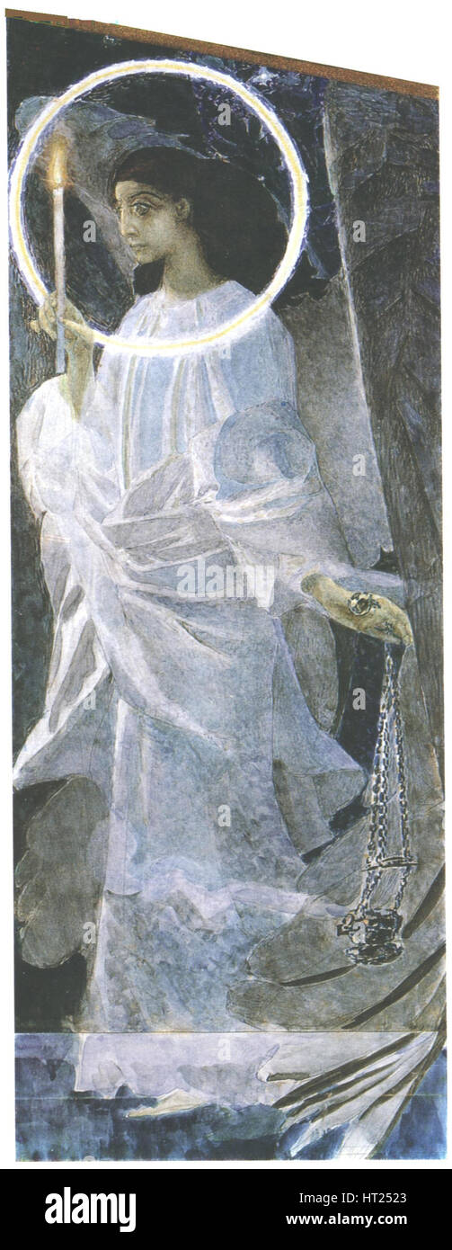 Angel with a Candle, 1887. Artist: Vrubel, Mikhail Alexandrovich (1856-1910) - Stock Image