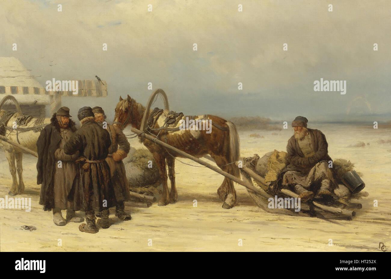 At the Gates. Artist: Sokolov, Pyotr Petrovich (1821-1899) - Stock Image
