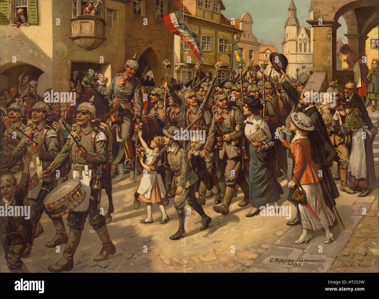 The Mobilization in 1914. Image to Schools History Teaching, 1915. Artist: Röhling, Carl (1849-1922) - Stock Image