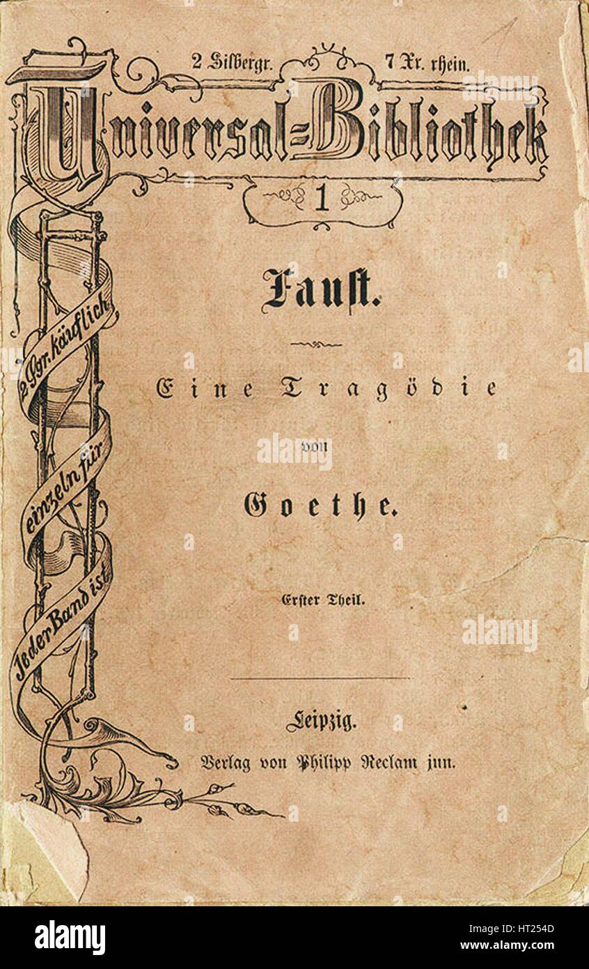 Goethe's Faust I, the first volume of Reclam's Universal Library, appeared on November 10, 1867, 1 Artist: - Stock Image