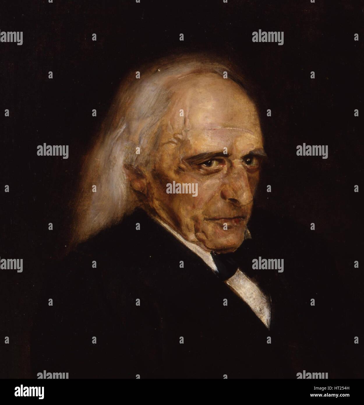 Portrait of Theodor Mommsen (1817-1903) Detail, 1897. Artist: Lenbach, Franz, von (1836-1904) - Stock Image