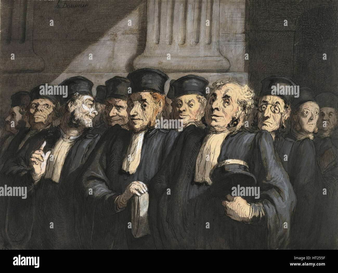 The Lawyers for the Prosecution, Early 1860s. Artist: Daumier, Honoré (1808-1879) - Stock Image