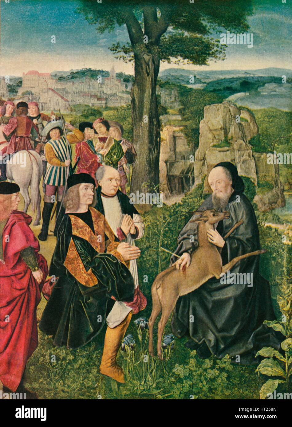 'Saint Giles and the Deer', c1500, (1909). Artist: Unknown. - Stock Image