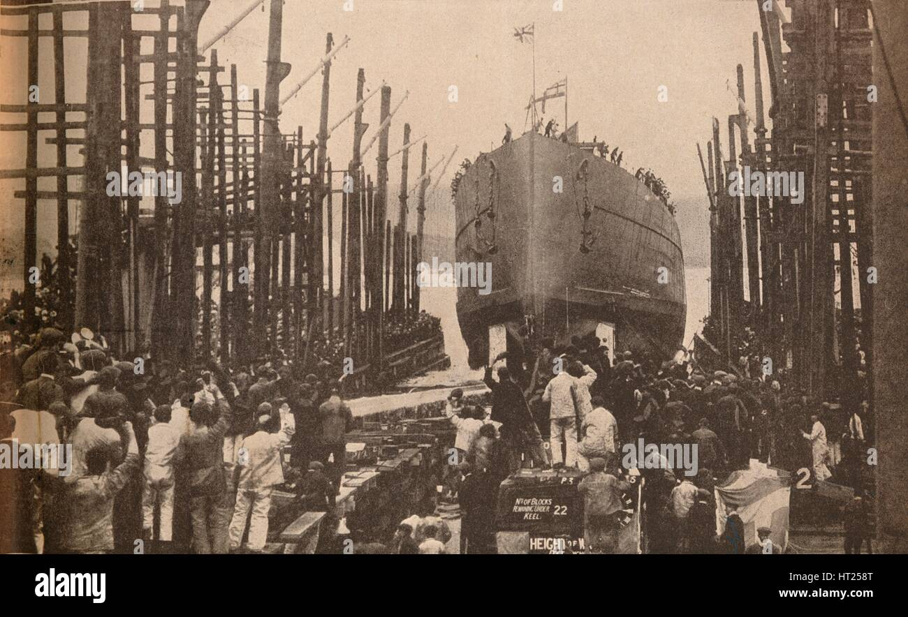 'Launch of H.M.S. Lion in August, 1910', c1910, (1935). Artist: Unknown. - Stock Image