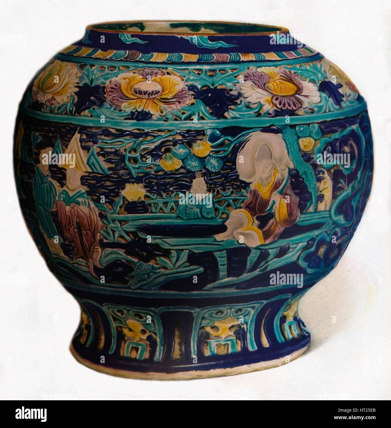 'Fahua jar with openwork design showing the Eight Daoist Immortals', c1550. Artist: Unknown. - Stock Image