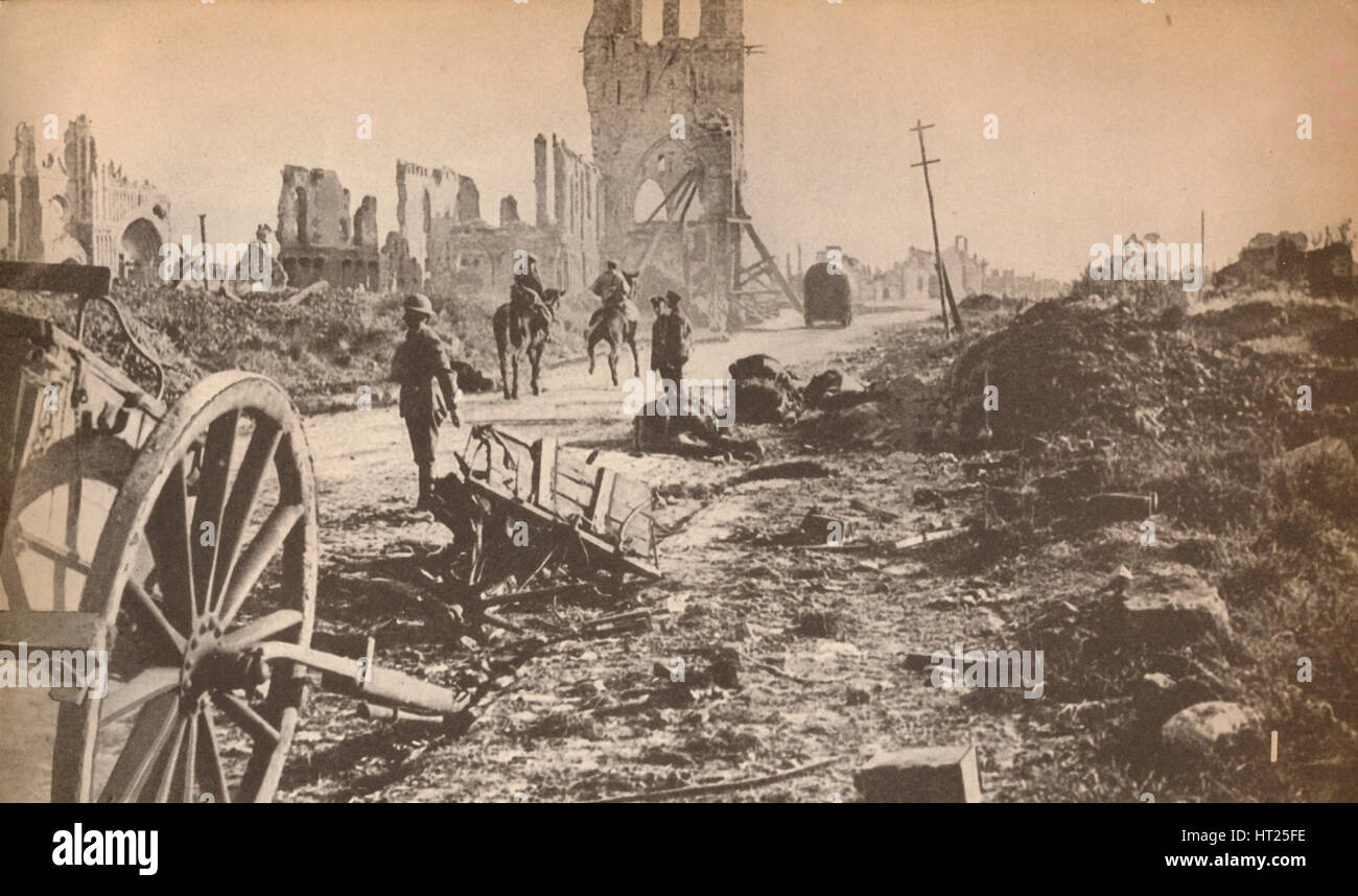 'The battered remains of Ypres after the last shell had done its worst, showing the ruins of the fam Artist: - Stock Image