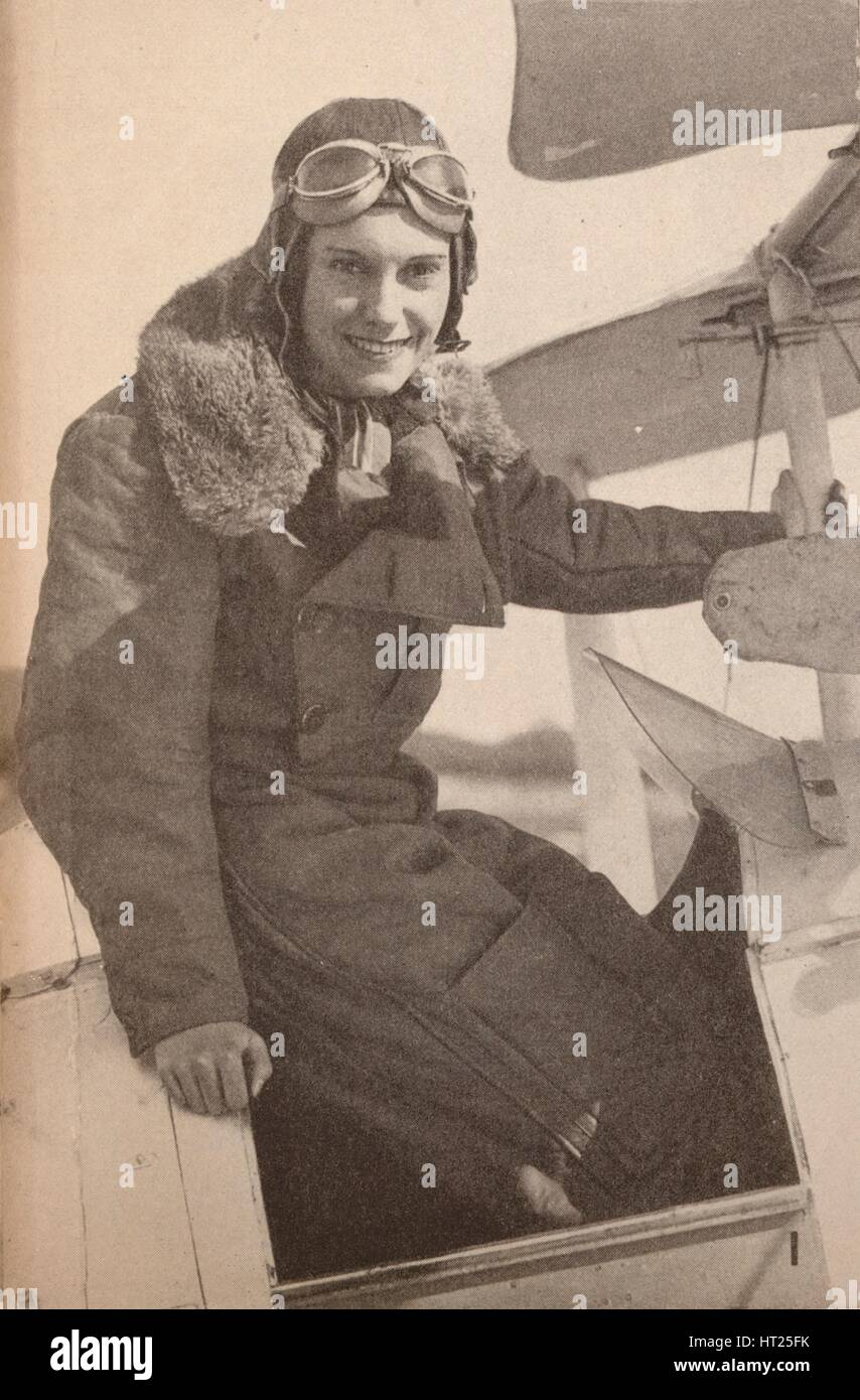 'Miss Jean Batten, of New Zealand, who in May, 1934, flew from England to Australia, breaking Mrs. M Artist: - Stock Image