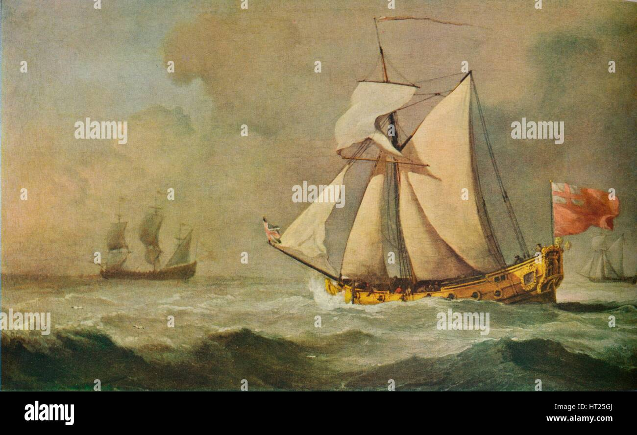 'The Cleveland Yacht at Sea in a Fresh Breeze', 1678. Artist: Willem van de Velde the Younger. - Stock Image