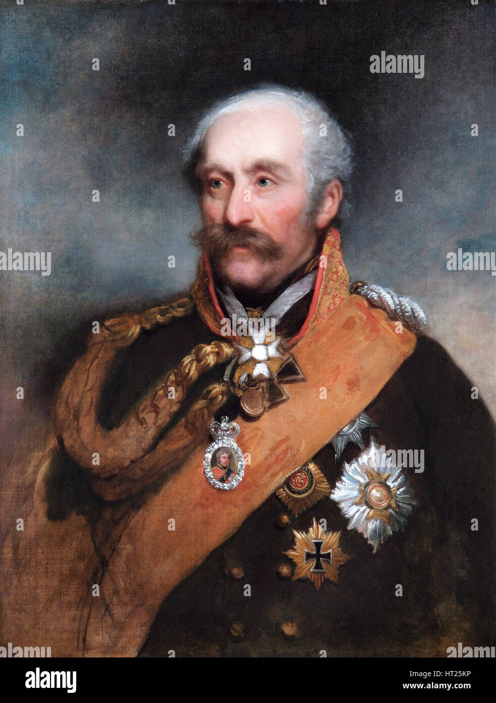 Portrait of Field Marshal Blücher, Prussian soldier, c1818. Artist: George Dawe. - Stock Image