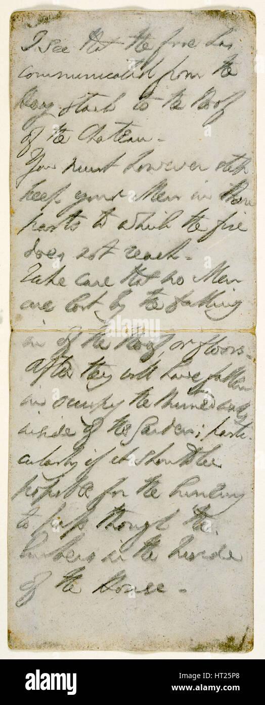 Battle instructions written by the Duke of Wellington, early 19th Century.  Artist: Duke of Wellington. - Stock Image