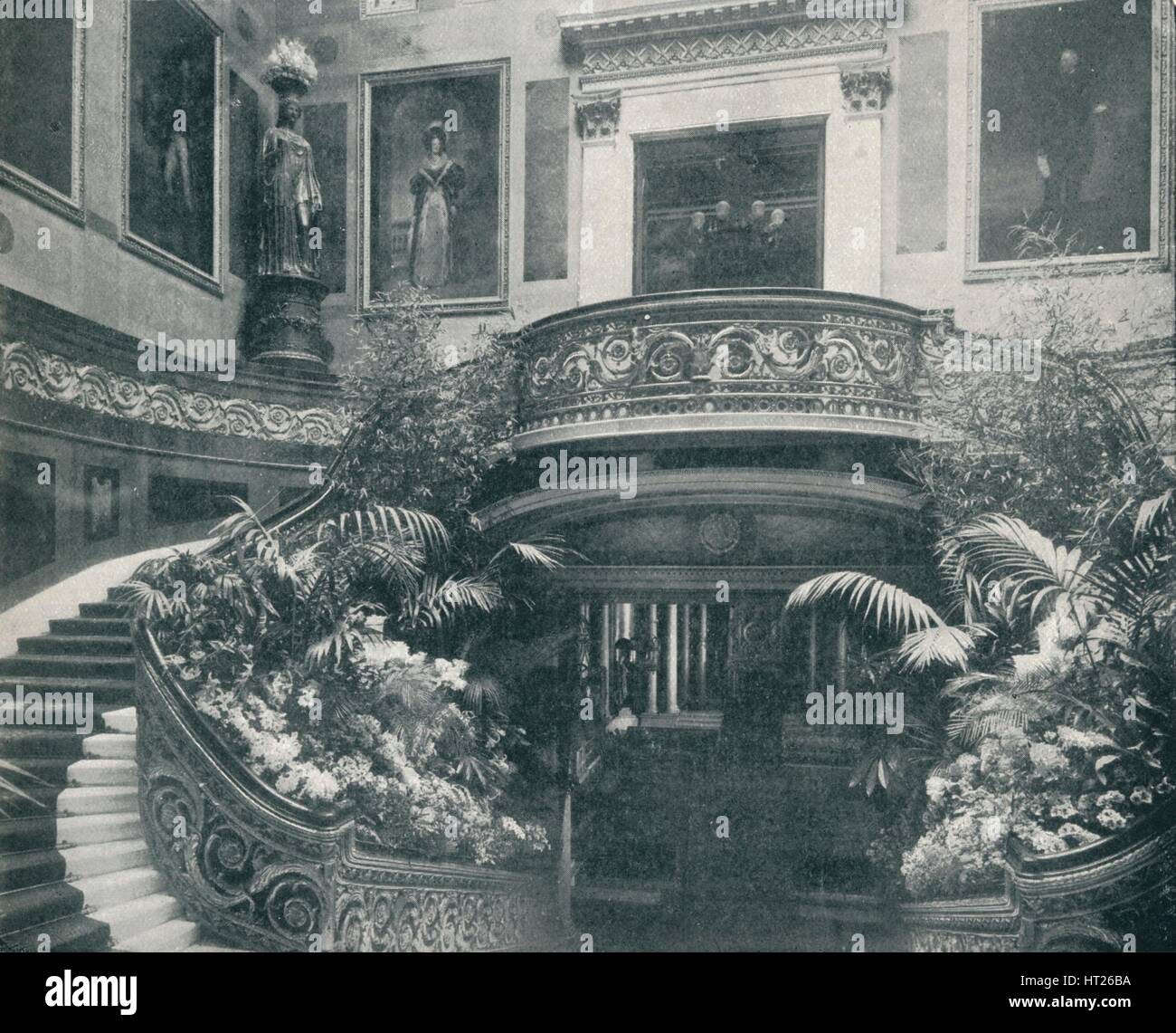 'The Grand Staircase at Buckingham Palace', c1899, (1901). Artist: HN King. Stock Photo