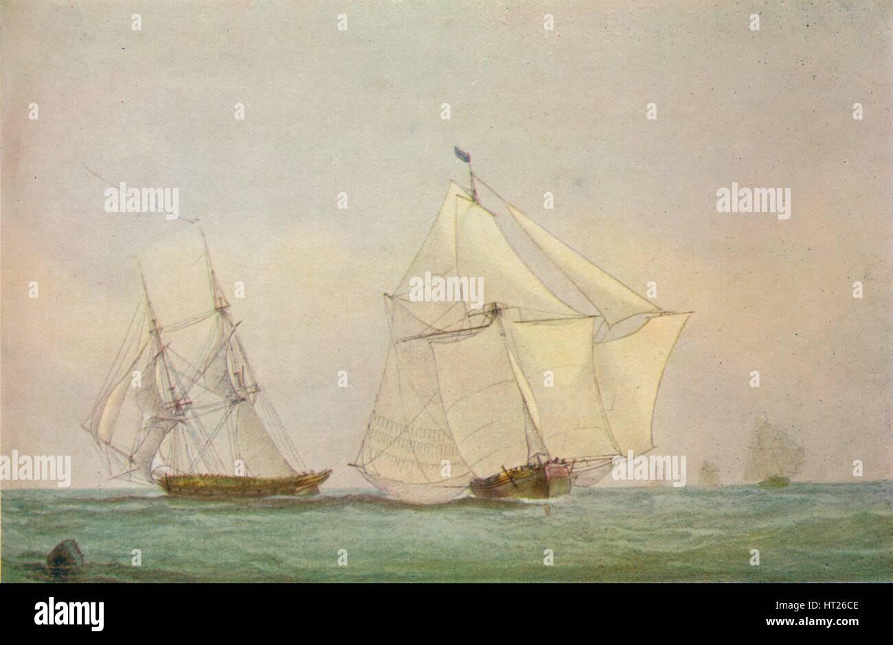 'Leith Smack Running Up Swim, October', 1838. Artist: John Christian Schetky. - Stock Image