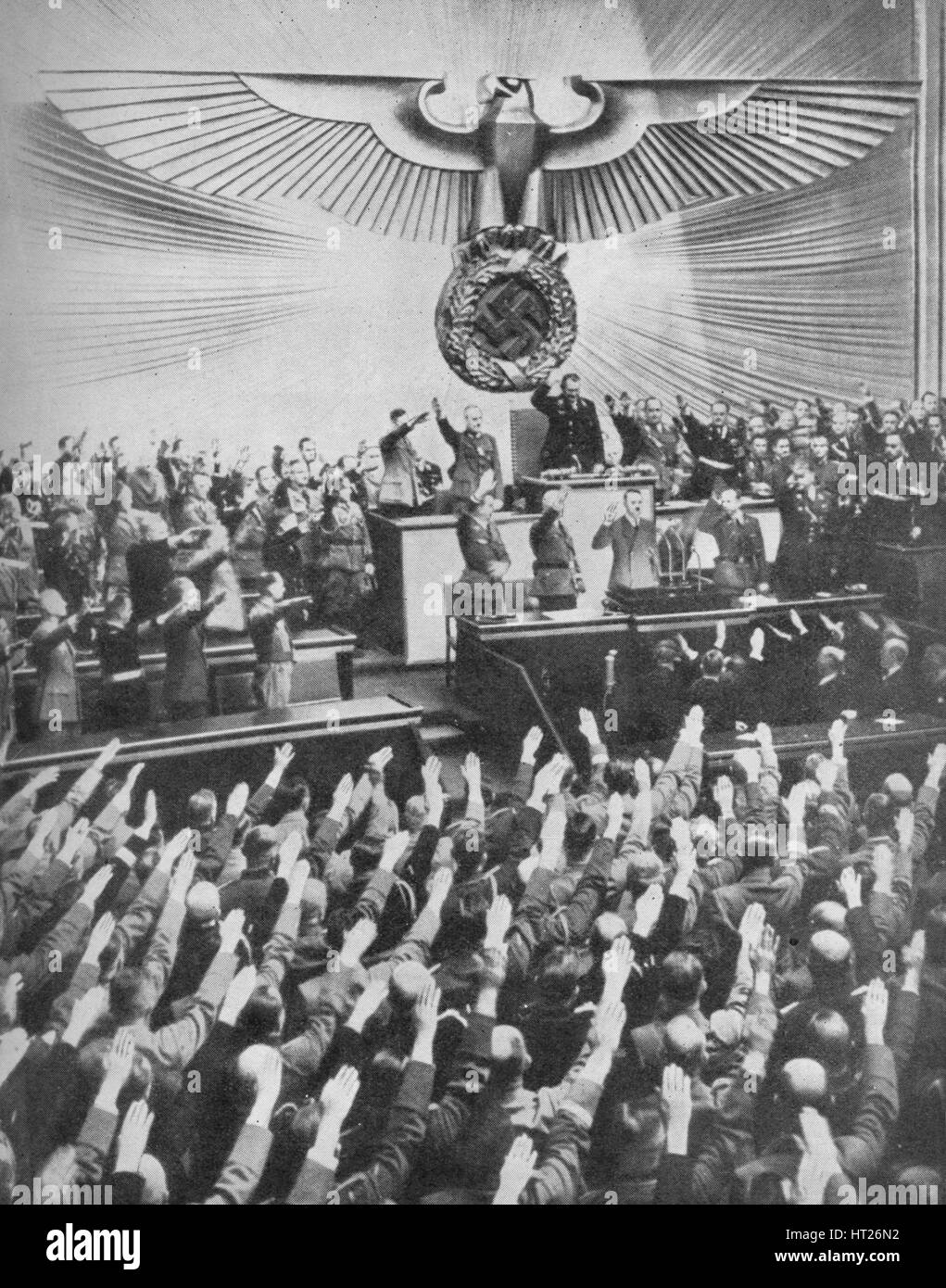 'Hitler Makes His Peace Speech in the Reichstag', 1939, (1940). Artist: Unknown. - Stock Image