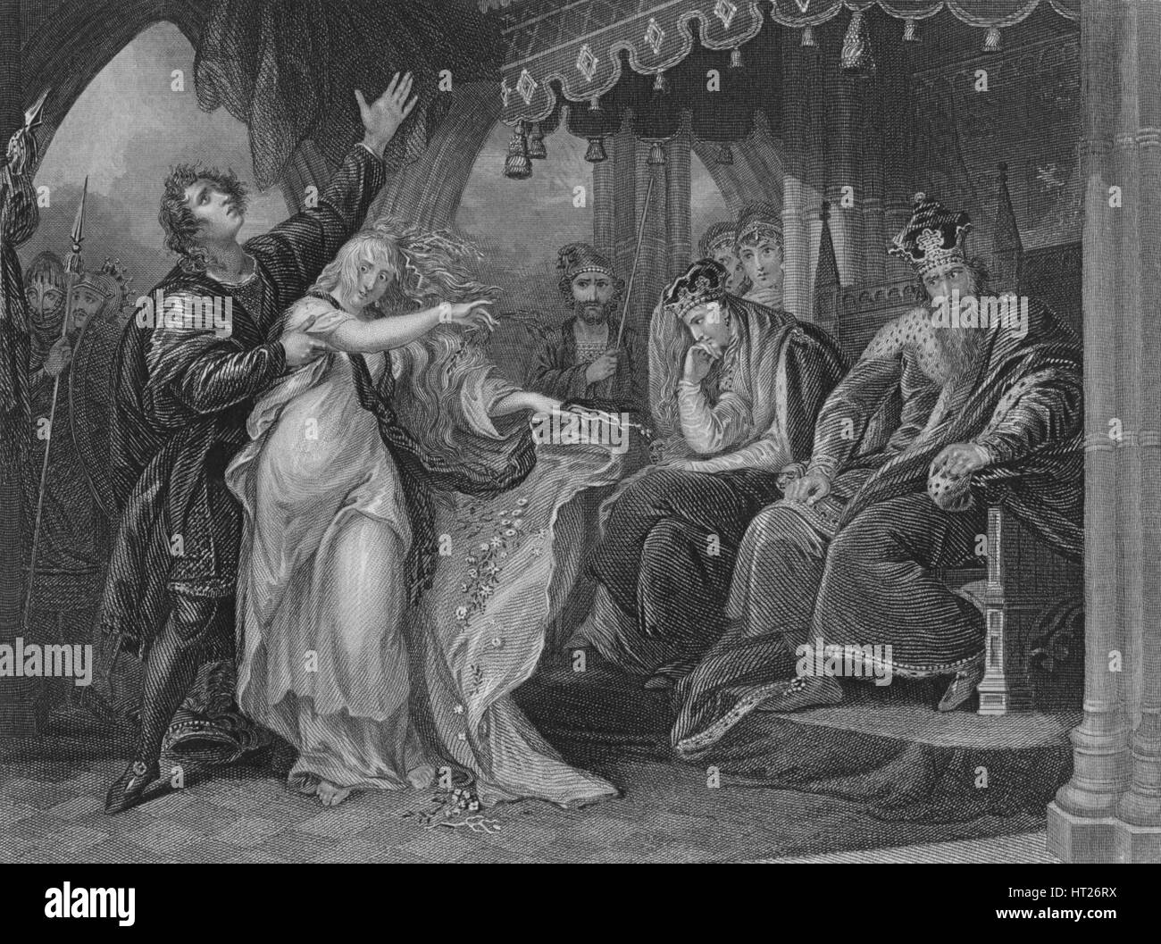 Act IV Scene v from Hamlet, c19th century. Artist: Unknown. - Stock Image
