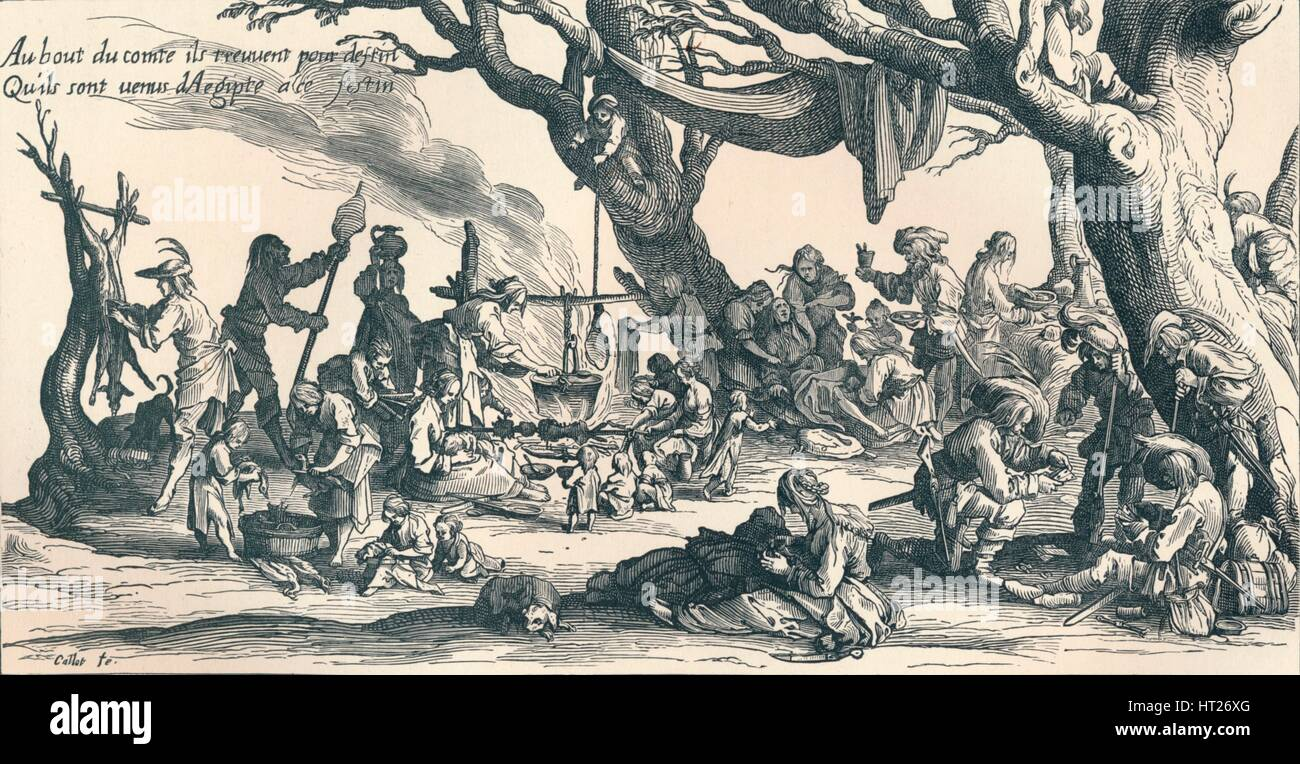 'An Encampment of the First Gipsies in Central Europe', c1604, (1907). Artists: Unknown, Jacques Callot. - Stock Image