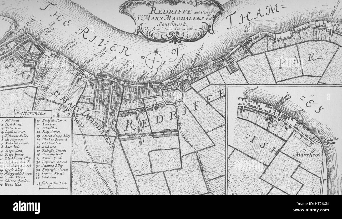 'A Plan of Rotherhithe', 1755, (1912). Artists: Unknown, John Stow. - Stock Image