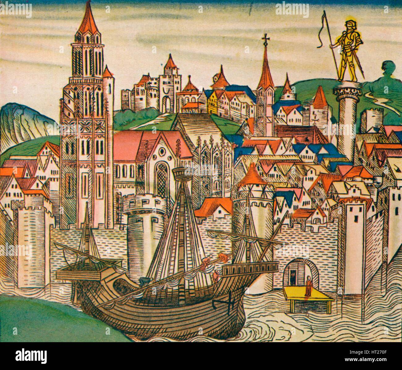 'The City of Treviso with a Carrack', 1493. Artist: Unknown. - Stock Image
