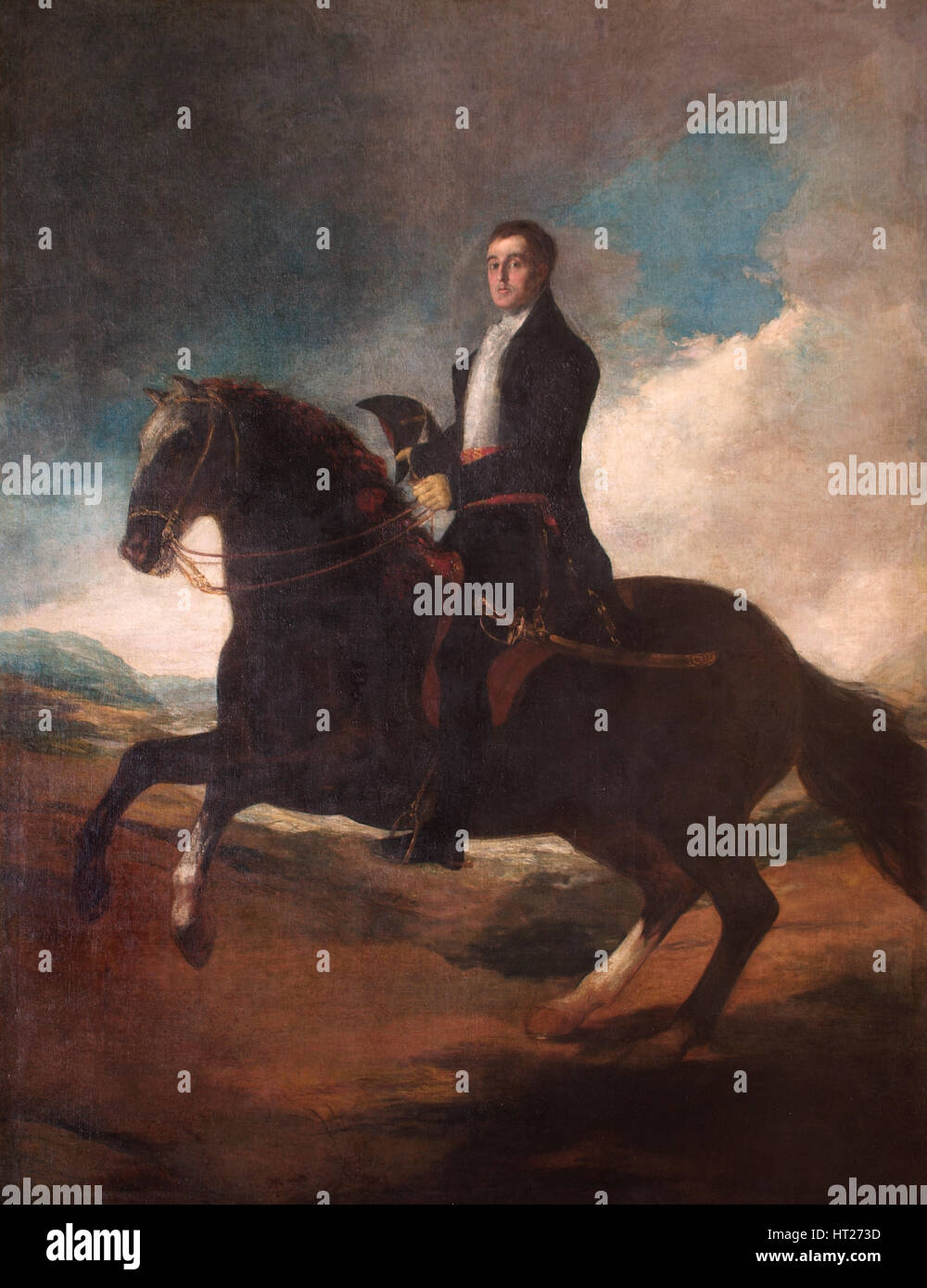 Equestrian portrait of the Duke of Wellington, 1812.  Artist: Francisco Goya. - Stock Image