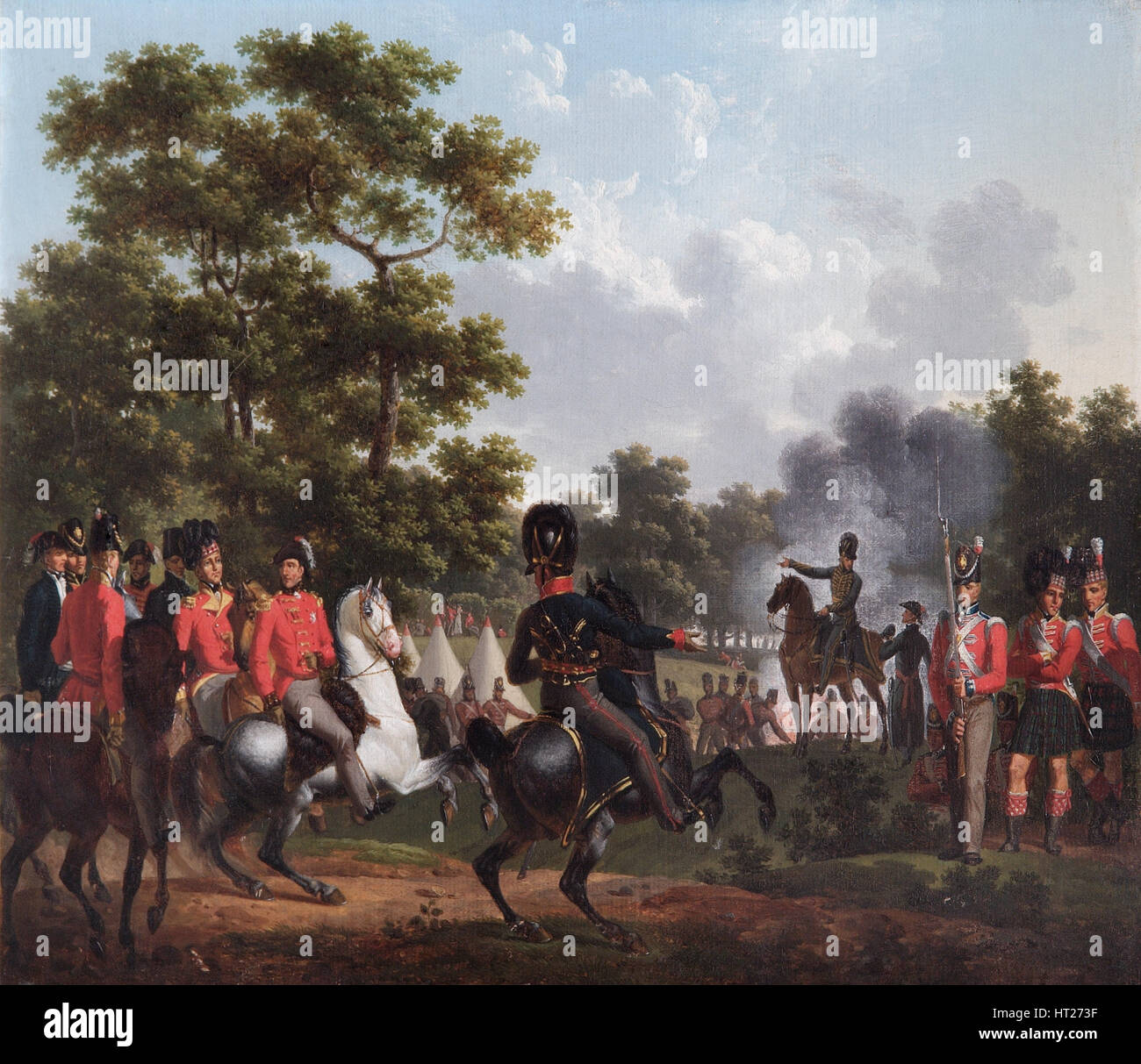 'The Duke of Wellington Visiting the Outposts at Soignes', 1815. Artist: Hippolyte Lecomte. - Stock Image