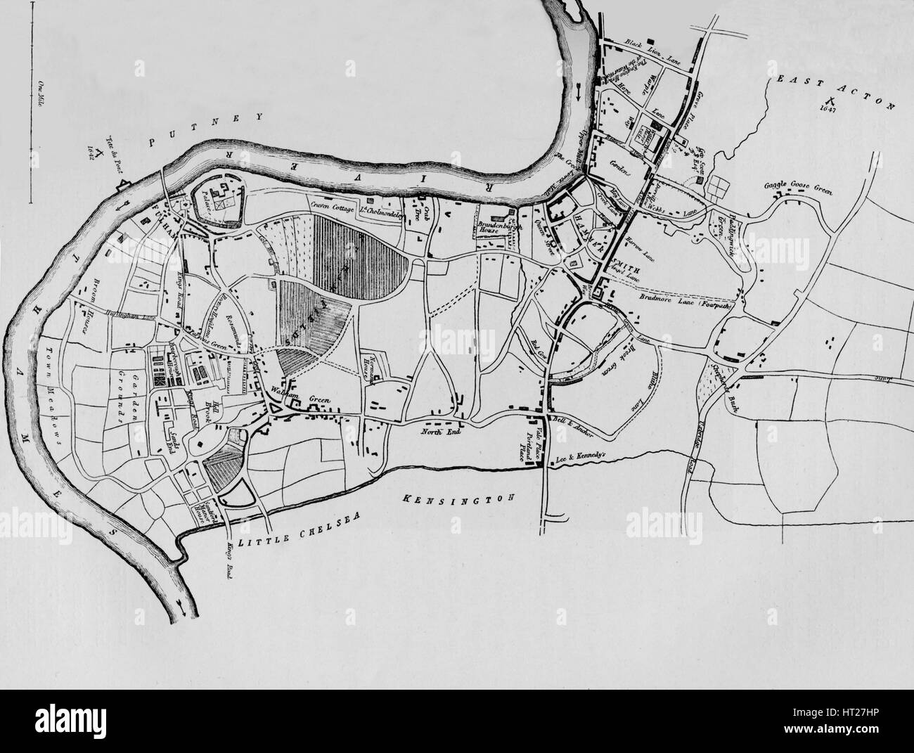 A map of Fulham in 1813 (1911). Artist: Unknown. - Stock Image