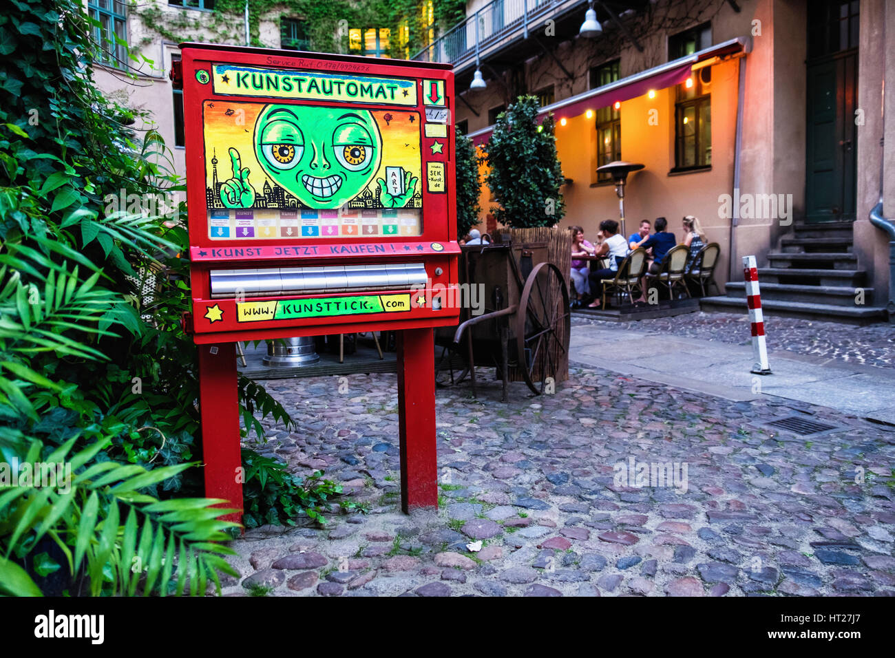 Berlin, Mitte. Kunstautomat selling affordable art. Automatic Art Machine dispenses small artworks and leaflets - Stock Image