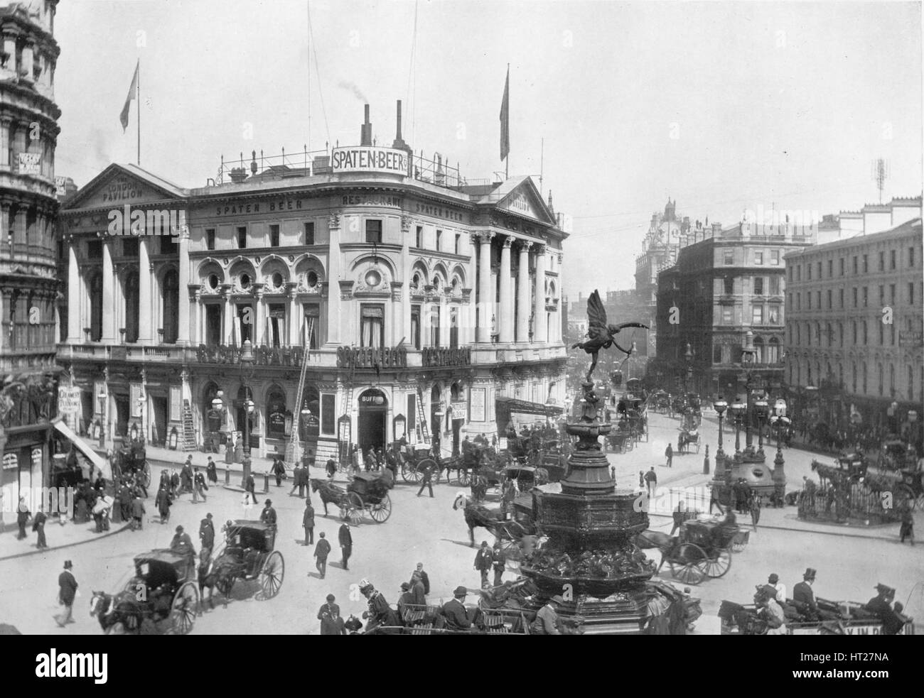 Piccadilly Circus, Westminster, London, c1910 (1911). Artist: Photochrom Co Ltd of London. - Stock Image