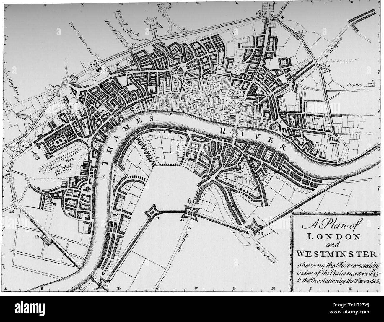 Plan of London and Westminster, 1749 (1903). Artist: Unknown. - Stock Image