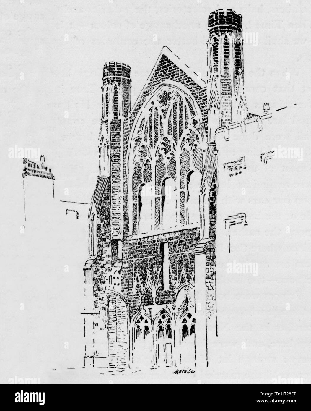 'East Front of St. Stephen's Chapel as it appeared after the fire of 1834', c1897. Artist: William Patten. - Stock Image