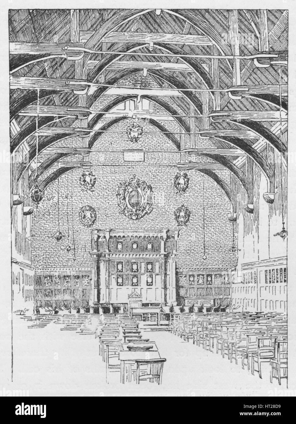The Westminster Schoolroom, Formerly The Abbot's Dormitory', c1897. Artist: William Patten. - Stock Image