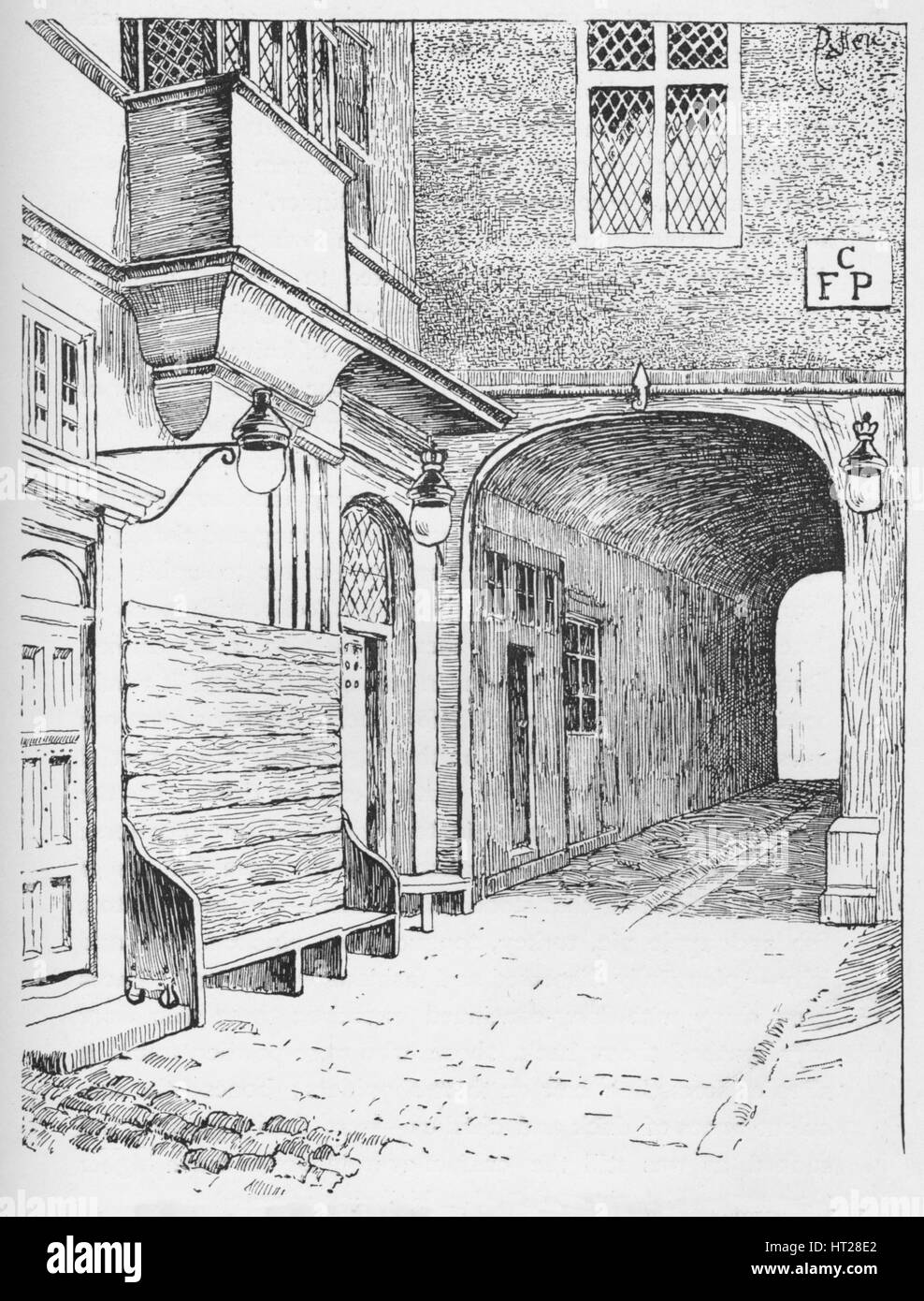 'The Entrance to Speaker's Ward as it appeared before the fire', c1897. Artist: William Patten. - Stock Image
