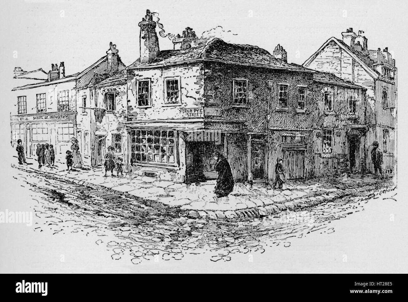 'Old Pye Street and the Ragged School', c1897. Artist: William Patten. - Stock Image