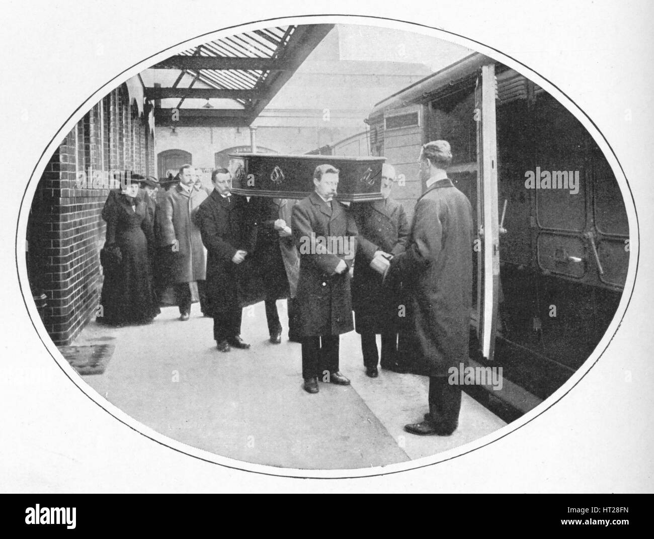 At the Necropolis Company's station, Westminster Bridge Road, London, c1900 (1903). Artist: Unknown. Stock Photo