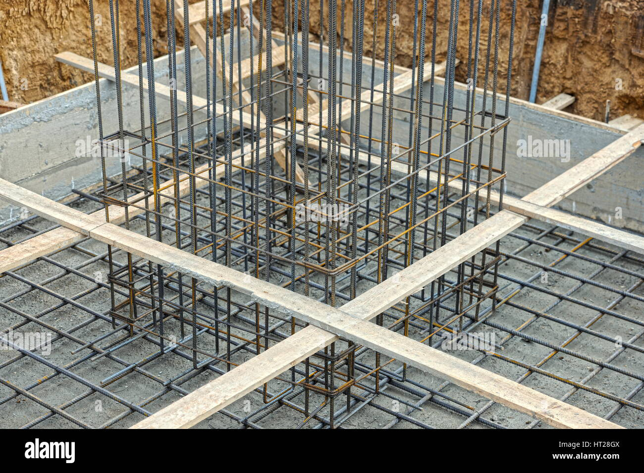 A big hole of pole in construction site building prepare for pouring cement Stock Photo