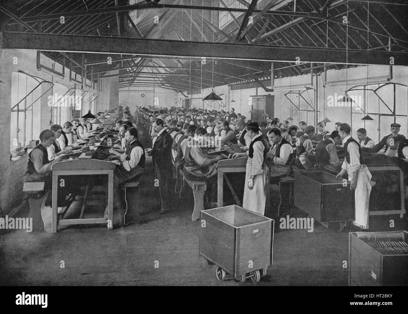 One of the cigar manufacturing departments at Salmon and Gluckstein, Ltd, London, c1870s (1903). Artist: Unknown. - Stock Image