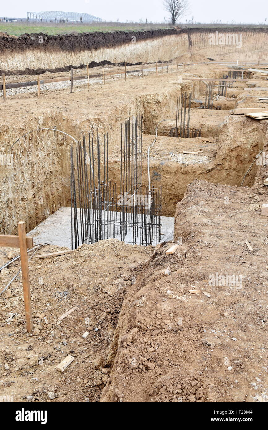 A big hole of pole in construction site building prepare for concreting Stock Photo
