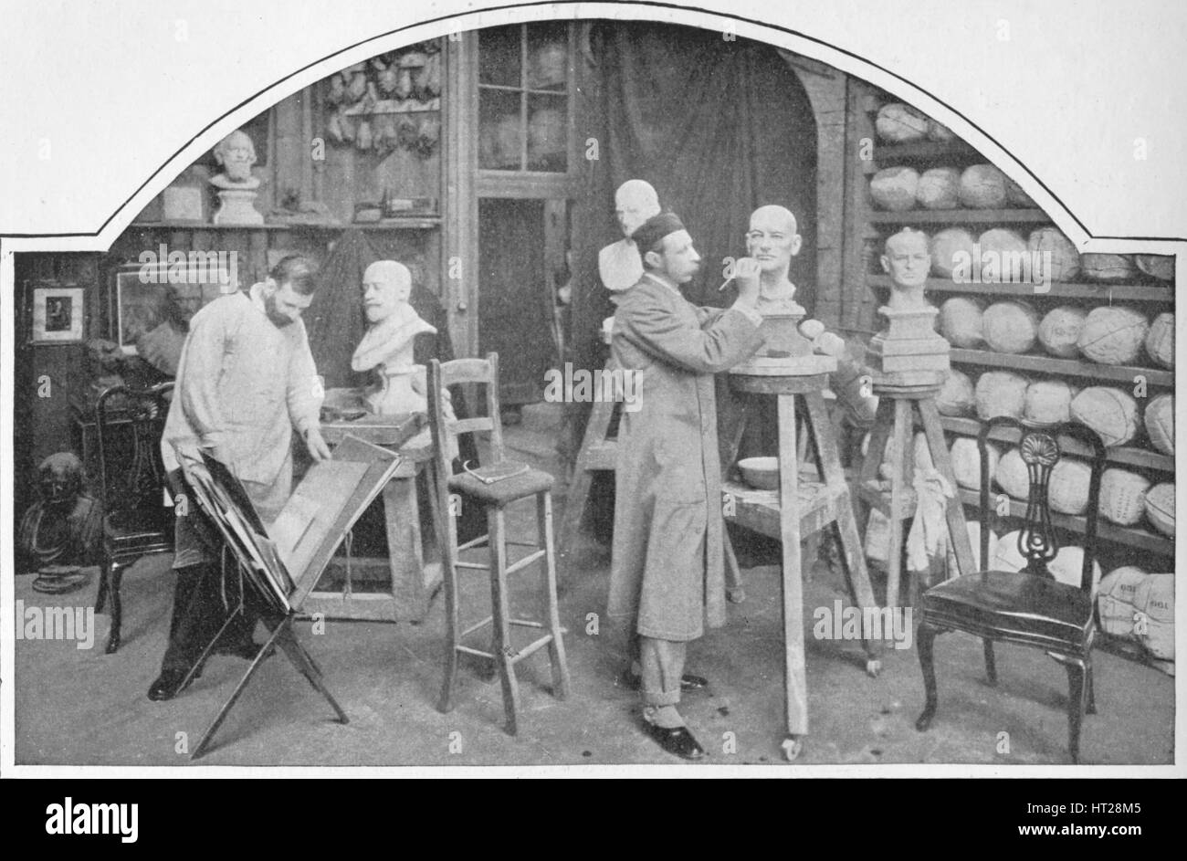 Preparing models at Madame Tussaud's, London, c1903 (1903). Artist: Unknown. - Stock Image