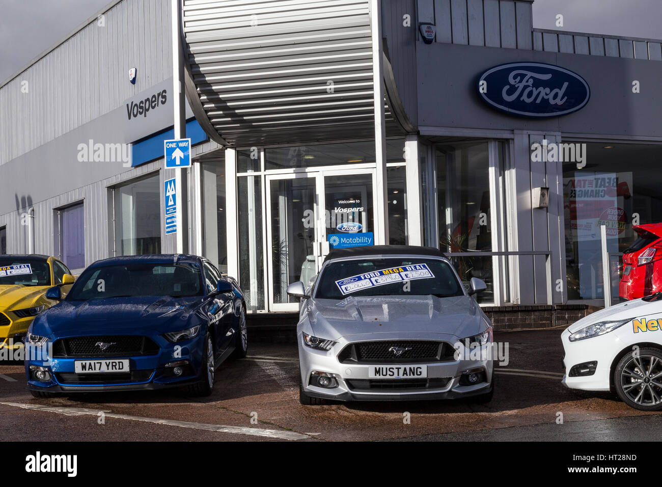 Vospers is one of the leading car dealerships in Devon and Cornwall,ford dealership,A Dealership Now. Models: Fiesta, - Stock Image
