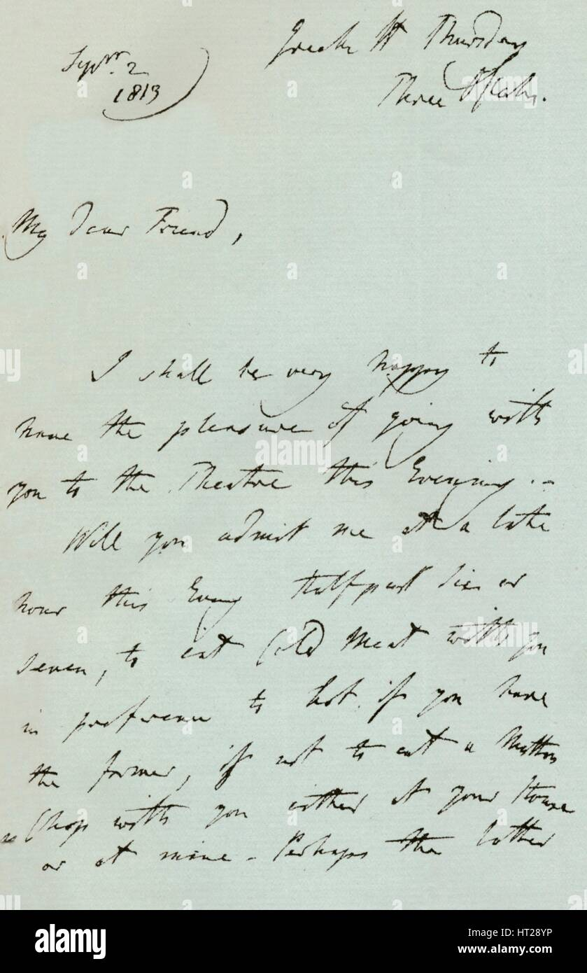 A letter from Sir Thomas Lawrence, 1819 (1904). Artist: Thomas Lawrence. - Stock Image