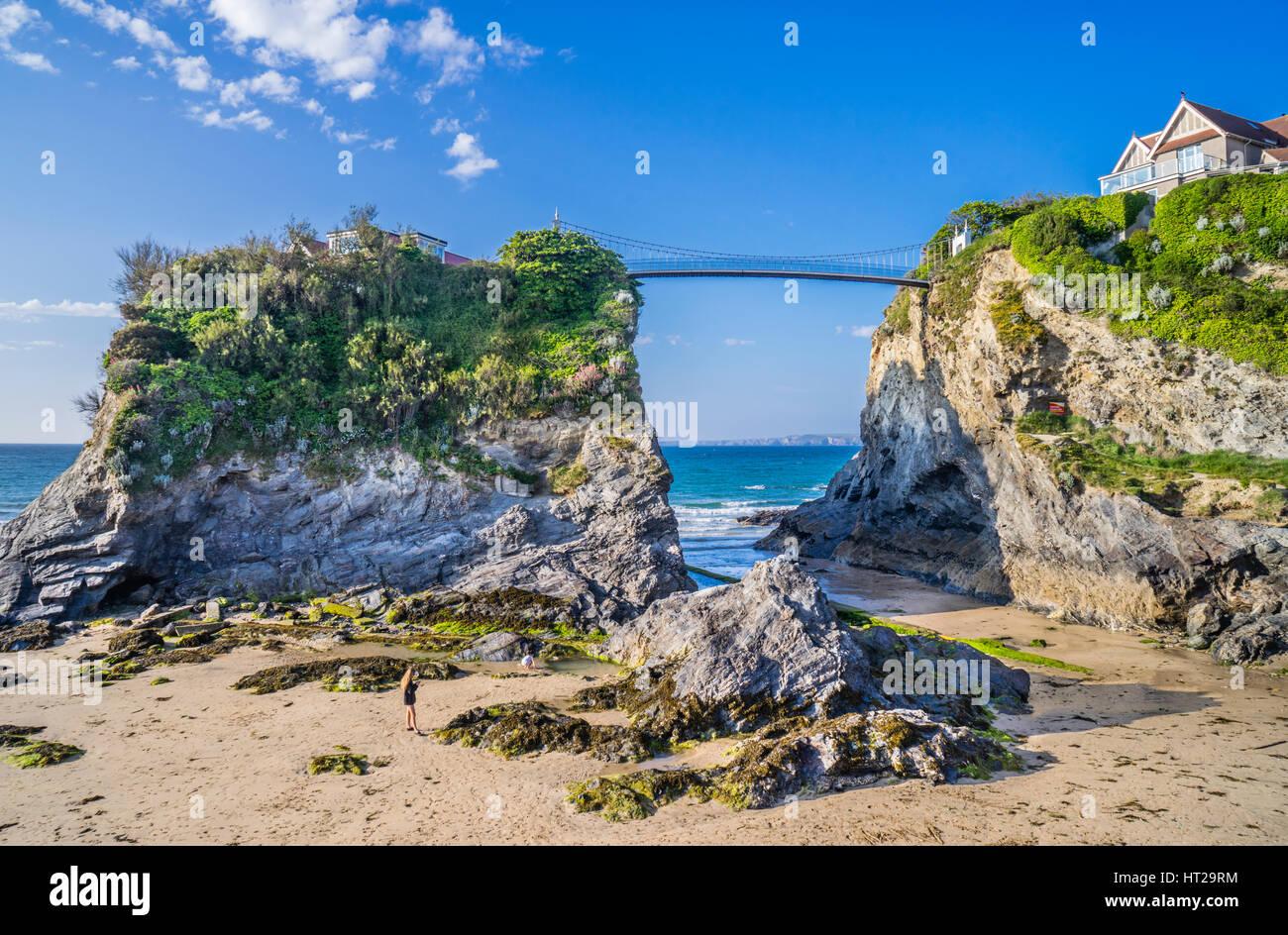 United Kingdom, South West England, Cornwall, Newquay, 'House in the Sea' on Towan island at Towan Beach - Stock Image