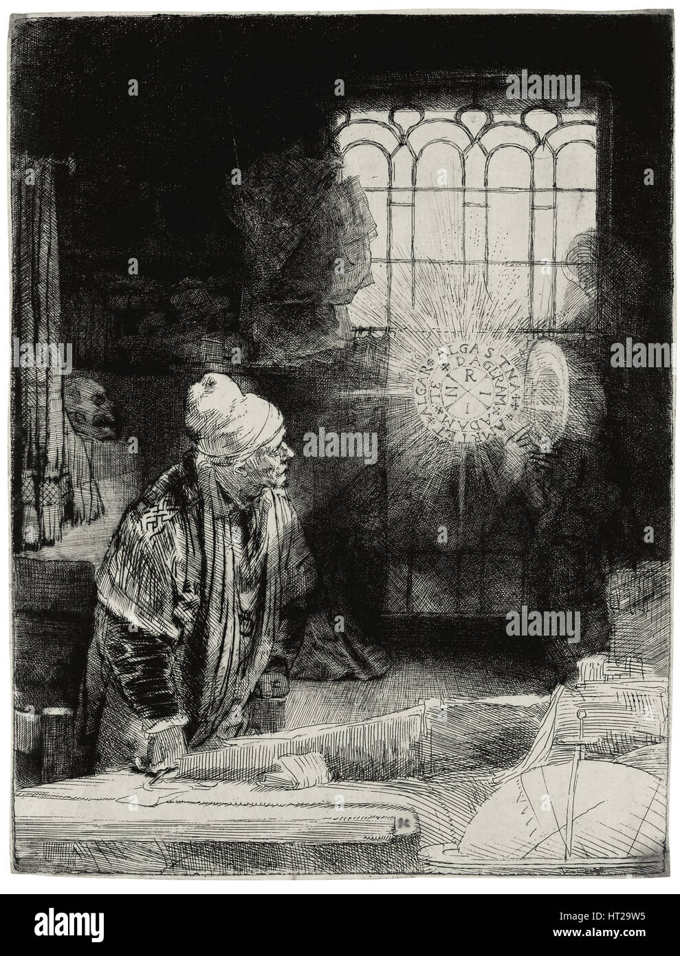 Faust, ca 1652. Artist: Rembrandt van Rhijn (1606-1669) - Stock Image