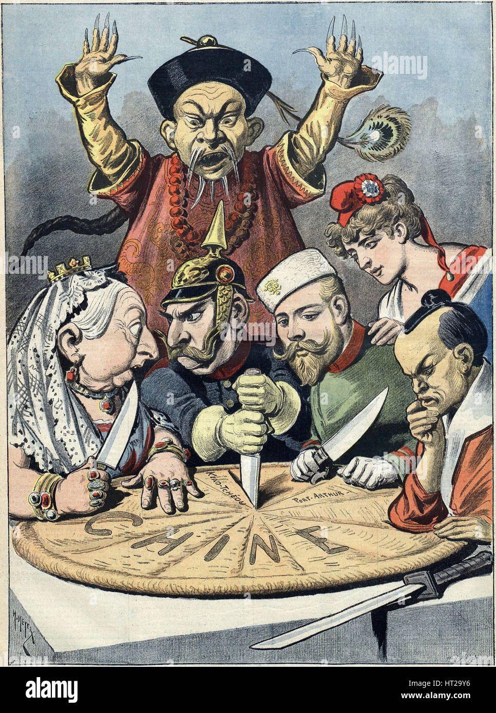 China - the cake of kings and... of emperors (Caricature), 1898. Artist: Meyer (Reyem), Henri (1844-1899) - Stock Image