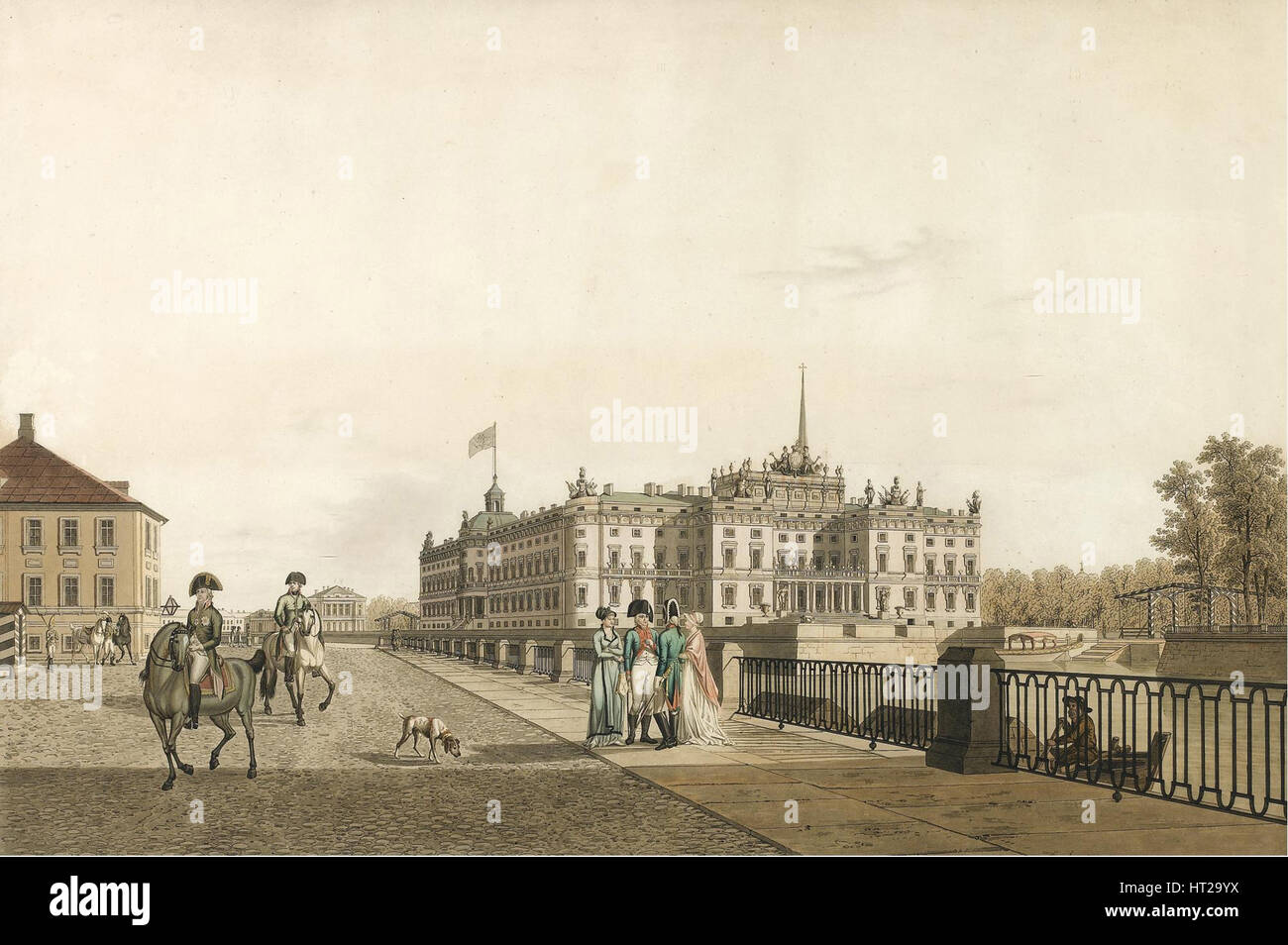 View of the Mikhailovsky Palace, 1804. Artist: Lory, Gabriel Ludwig, the Elder (1763-1840) - Stock Image