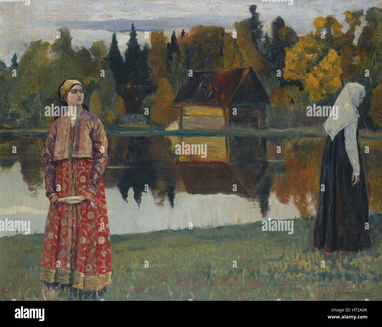 By the Lake, 1924. Artist: Nesterov, Mikhail Vasilyevich (1862-1942) Stock Photo