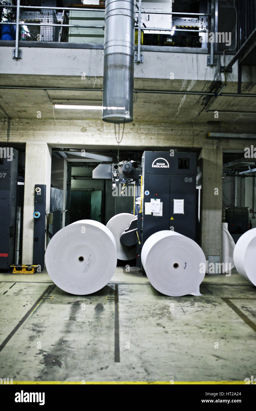 "MAN-Roland web-fed offset printing presses in the printing plant of the ""Kleine Zeitung"" newspaper, which is a regional - Stock Image"