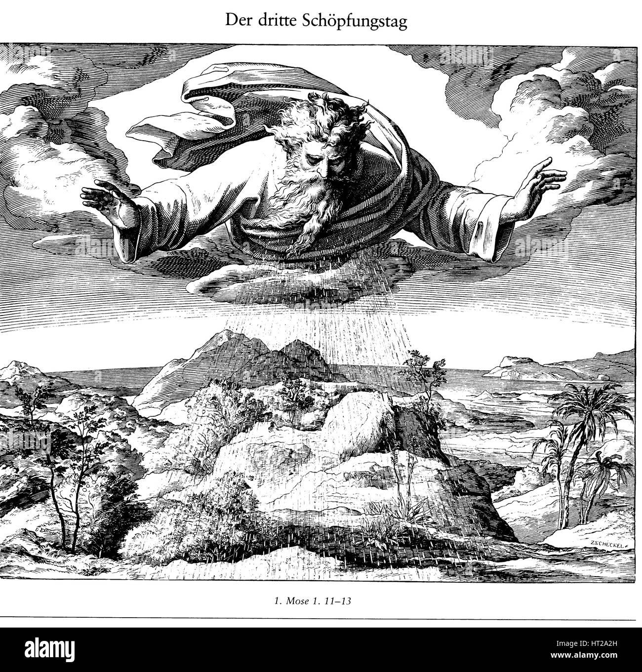 The Third Day of Creation (From Die Bibel in Bildern), 1852-1860. Artist: Schnorr von Carolsfeld, Julius (1794-1872) Stock Photo