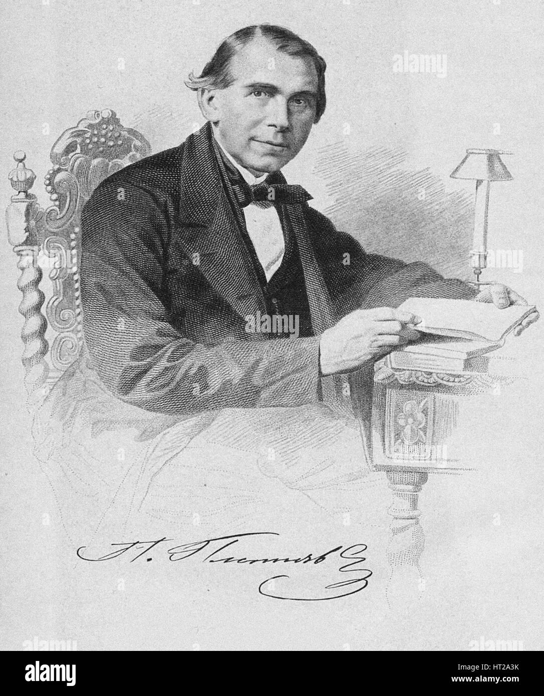 Pyotr Alexandrovich Pletnyov (1791-1865), 1870. Artist: Iordan, Fyodor (1800-1883) - Stock Image