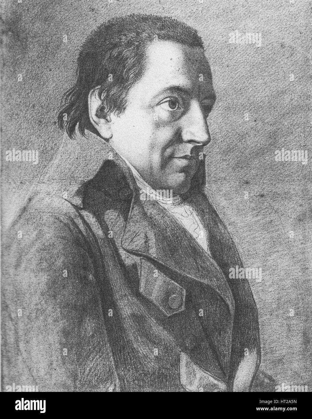 Portrait of Johann Gottlieb Fichte (1762-1814), c. 1800. Artist: Bury, Friedrich (1763-1823) - Stock Image