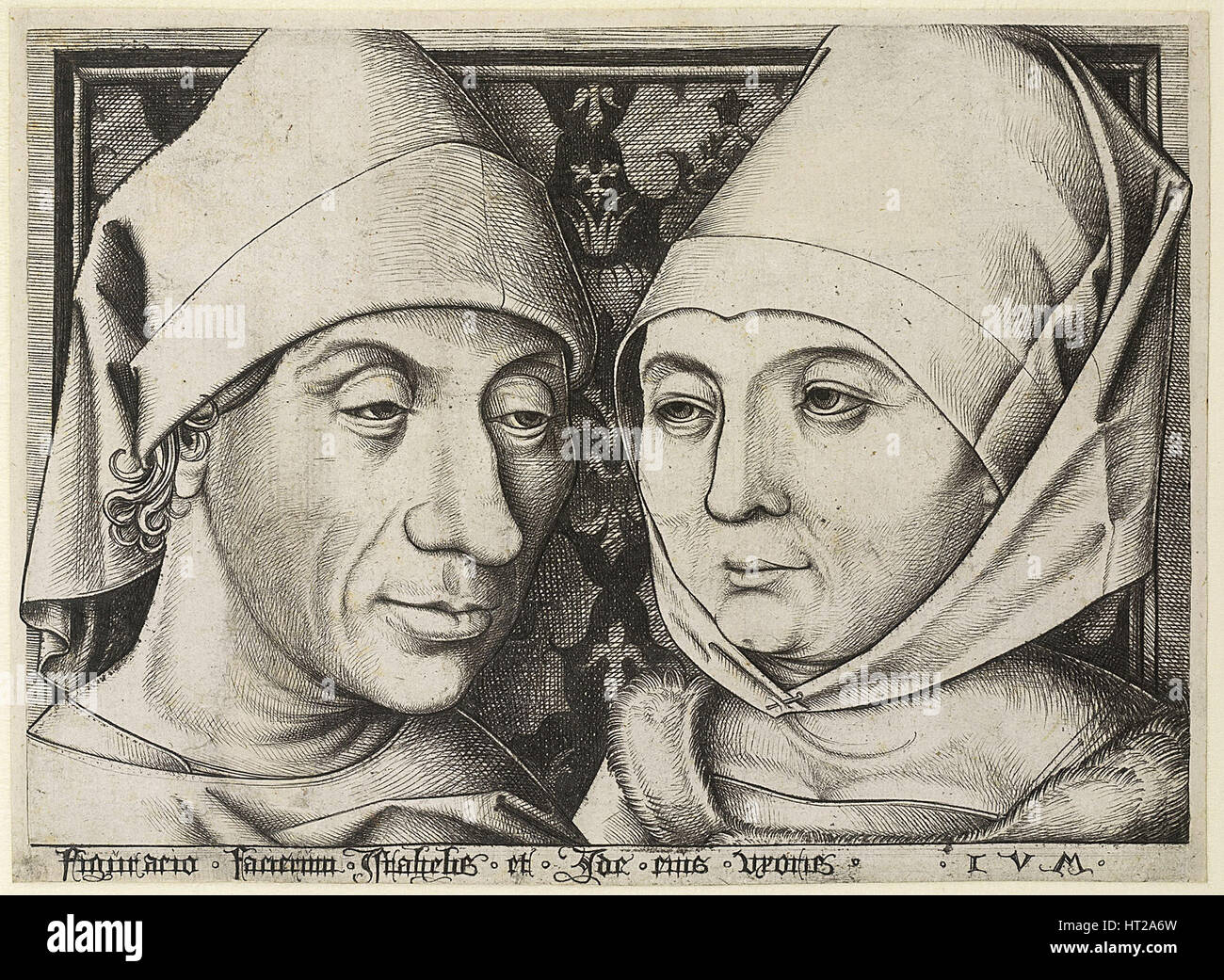 Self-Portrait with wife Ida, c. 1490. Artist: Meckenem, Israhel van, the Younger (ca 1440-1503) - Stock Image